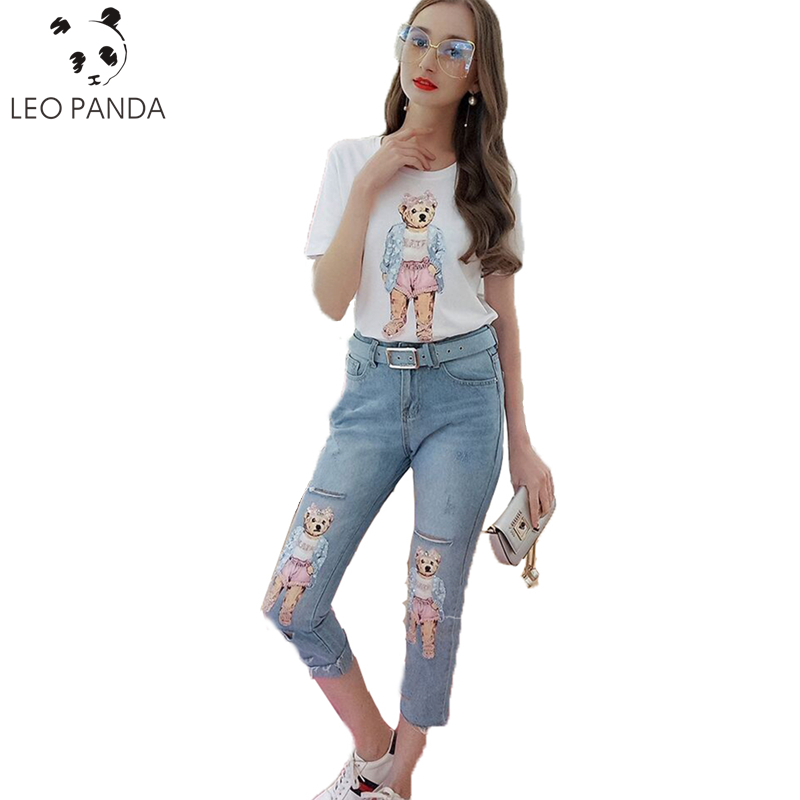 b06a4b751ac3 Summer Casual Women Diamond Floral Print T Shirt Ripped Denim Cropped  Trousers Women Suit Two-piece (Tees+Jeans Pants) LXT349