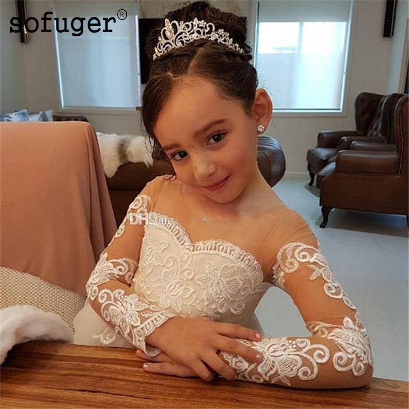 Long Flower Girl Dresses For Weddings Custom Made Princess Tutu Sequined Appliqued Lace Bow Kids First Communion