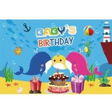 Laeacco Baby Shower Cartoon Newborn 1st Seafish Cake Gifts Scene Photography Backgrounds Photographic Backdrops For Photo Studio