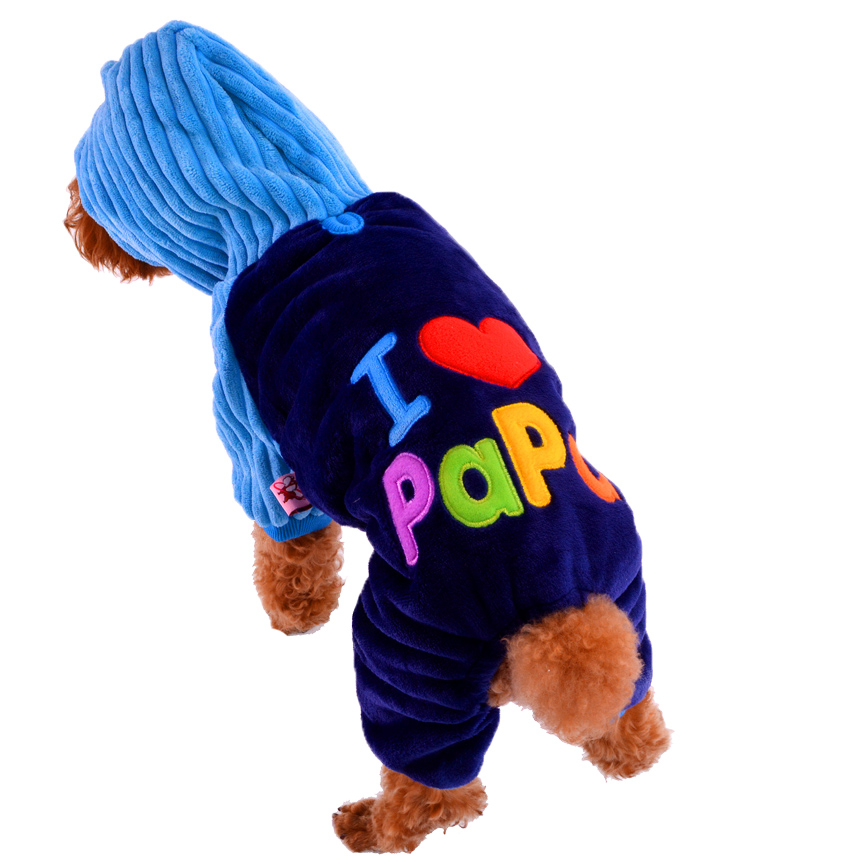 Lo nuevo Amor Mama Papa Ropa Dlyamalenkih Perros Rosa Azul Invierno Cálido Mascotas Gatos Disfraces Productos Para Yorkie Terrier Dachshund