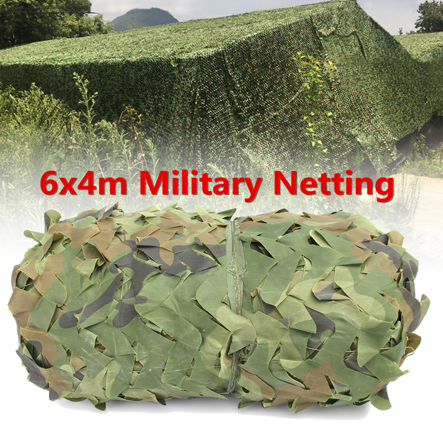 6X4m Outdoor Desert Woodland Camouflage Netting Military Army Camo Hunting Hide Camp Cover Net Sun Shelter