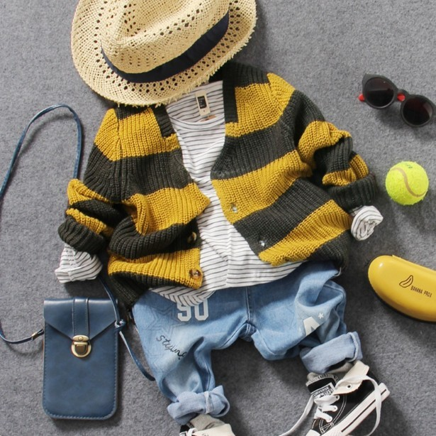 only cardigan 1pc 2-8Y new 2017 spring boys handsome knitting striped cardigan boys cardigan kids spring autumn sweater