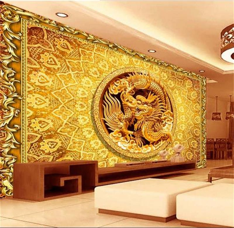 Custom Photo 3D Wallpaper Mural Non Woven Wallpaper Gold Relief China Dragon HD Photo Painting Sofa