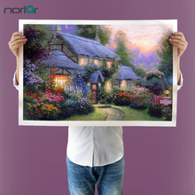 Thomas Kinkade Style Little Grass House HD Canvas Print Home decoration Living Room bedroom Wall pictures Art painting No Frame