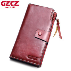GZCZ Genuine Leather Women Wallet Female zipper Long Walet clamp for money Coin Purse Clutch Card Holder Small Vallet Portomonee