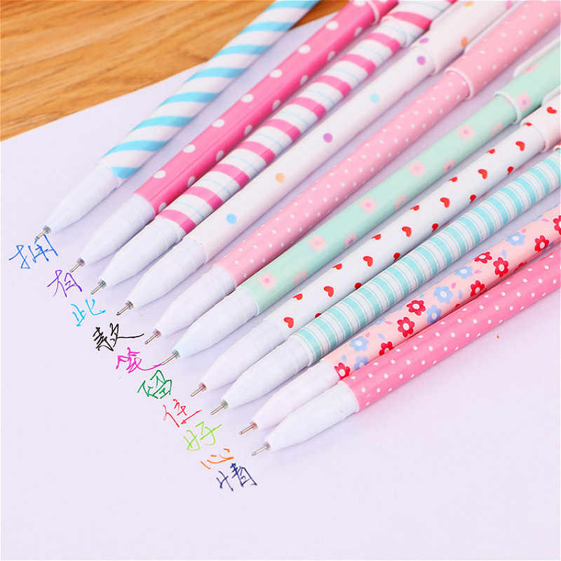 0.5mm Kawaii Creative ballpoint pen creativos Cartoon Broken flower pattern cute School Office Supplies Pen Stationery christmas