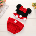 Wholesale Newborn Crochet Outfits Design Baby Cartoon Mouse Costumes Handmade Baby Hat Infant Newborn Clothes Photography Props