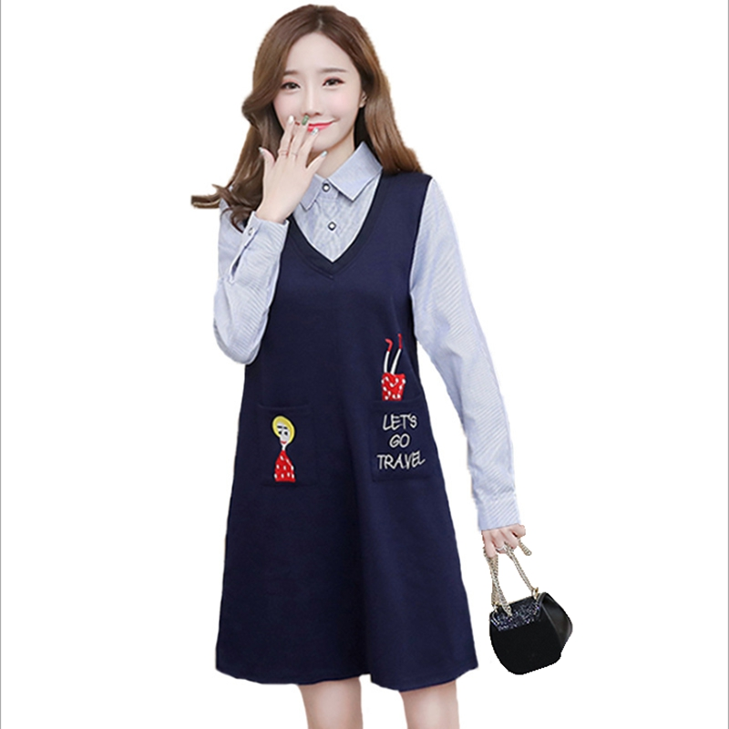 Spring and Autumn new pregnant women dress embroidered womens dress cotton pregnant maternity blouse vestidos maternity clothes