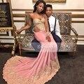 Correa de espagueti del amor del rosa del satén del estiramiento de encaje sin mangas largo de baile africanos vestidos de 2017 sexy sirena tribunal tren prom dress