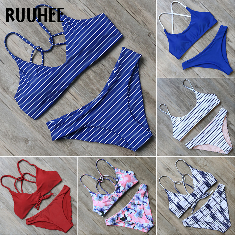 RUUHEE Bikini Swimwear Women Swimsuit 2018 Halter Bathing Suit Brand Beachwear Push Up Maillot De Bain Femme Mid Cut Bikini Set 2017 ruffle one piece swimsuit push up swimwear women sexy monokini solid bathing suit high cut beachwear maillot de bain femme page 9