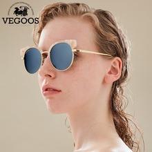Vegoos поляризационные Солнцезащитные очки для женщин Для женщин Красочные Зеркальные Оптические стёкла Cat Средства ухода для век цветочный Рамка Топ Мода Круглых Солнцезащитных Очков Для женщин #2192