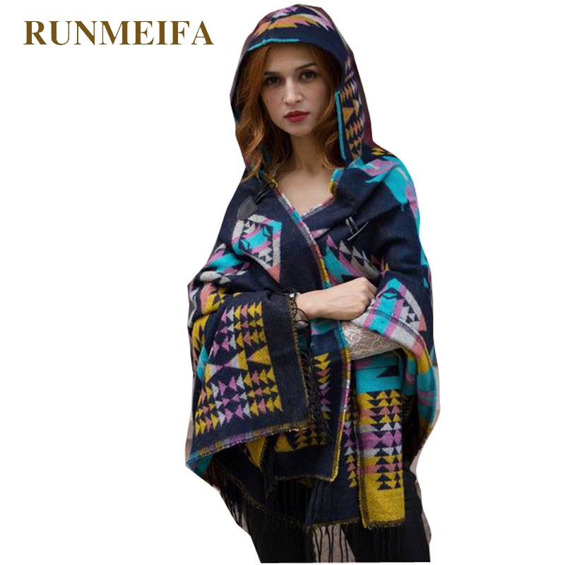 RUNMEIFA Lady Winter Hood Wrap Poncho Wool Blend Geometric Cape Mantle Ponchos Capes Women Tippet Free Shipping