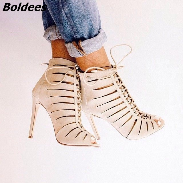 Fashion Beige PU Leather Women Stiletto High Heels Unique Cut-out Peep Toe High Heels Women Lace Up Thin Heel Ankle Booties