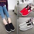 Venda quente Mulheres Lona Sapatos Flats Deslizar Sobre Sapatos de Conforto Sapatos Baixos Loafers cinco tamanhos atacado Mo04