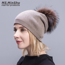 Ms.MinShu Knit Wool Cap with Real Fur Pompom Beanies Fur Hat Women Winter Autumn Bobble Hat With Big Fox Fur Ball