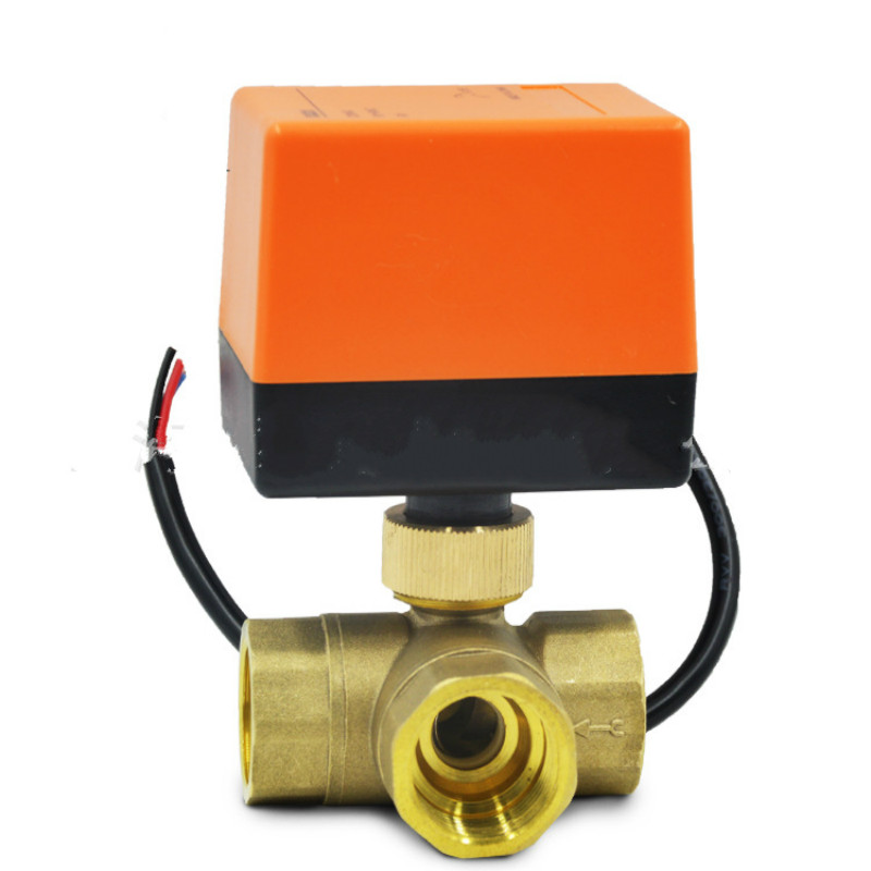 3 way motorized ball valve electric ball valve motorized valve Three line one way control NC NO AC220V цена