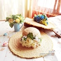 Floral raffia Straw Hats For Women's Female flower Summer Garland Ladies Wide Brim Beach Hats Large brim Sun Caps New Brand