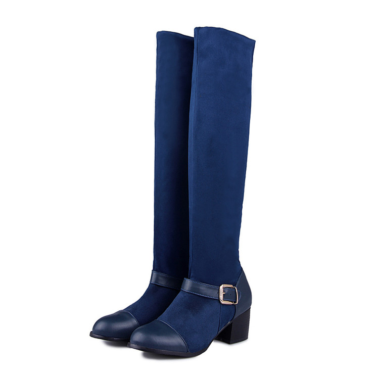 2017 Big Size 34-43 Brand Design Patch Color Over The Knee Boots Thick Sole Platform Slim Long Boots Winter Autumn Boots T-3