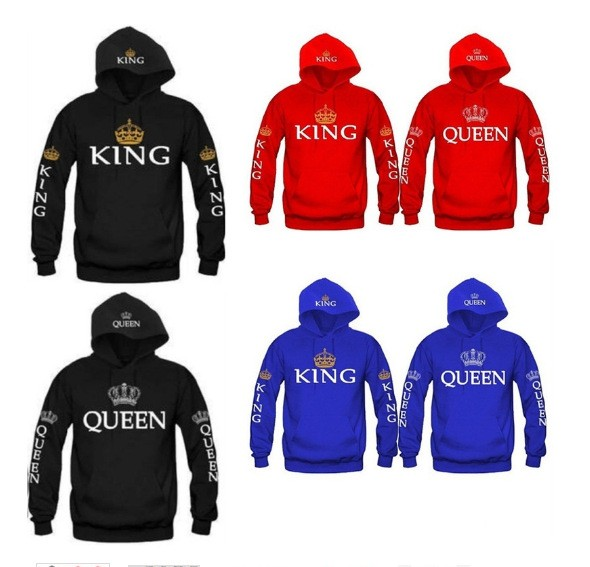 OMSJ 2018 Autumn 3Colors King Queen Printed Hoodies Women Men Sweatshirt Lovers couples hoodie Hooded sweatshirt Casual Pullover