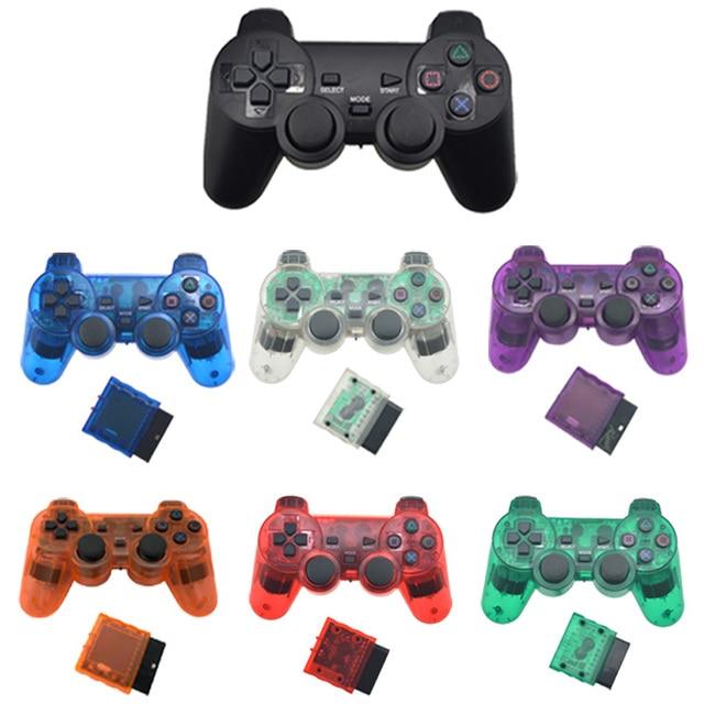 สำหรับSONY PS2 Wireless ControllerบลูทูธGamepadสำหรับPlay Station 2จอยสติ๊กคอนโซลสำหรับDualshock 2สีโปร่งใส