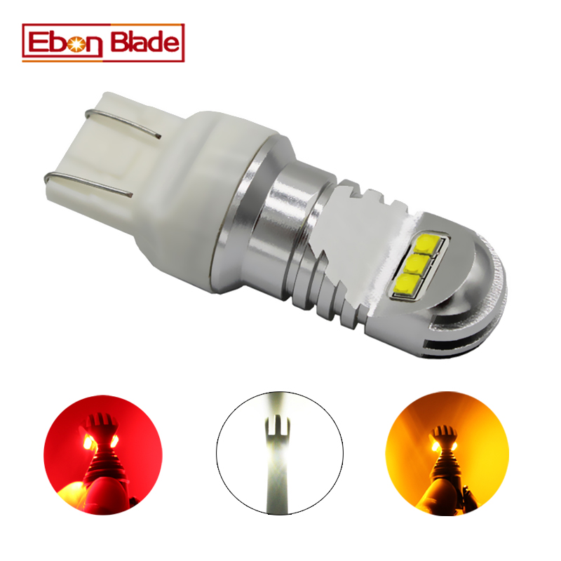 1 X T20 7440 W21W WY21W 7443 W21 5W XBD Chip 30W LED Front Tail Turn Signal Brake Reverse Light DRL Bulb White Amber RED 12v 24v in Signal Lamp from Automobiles Motorcycles
