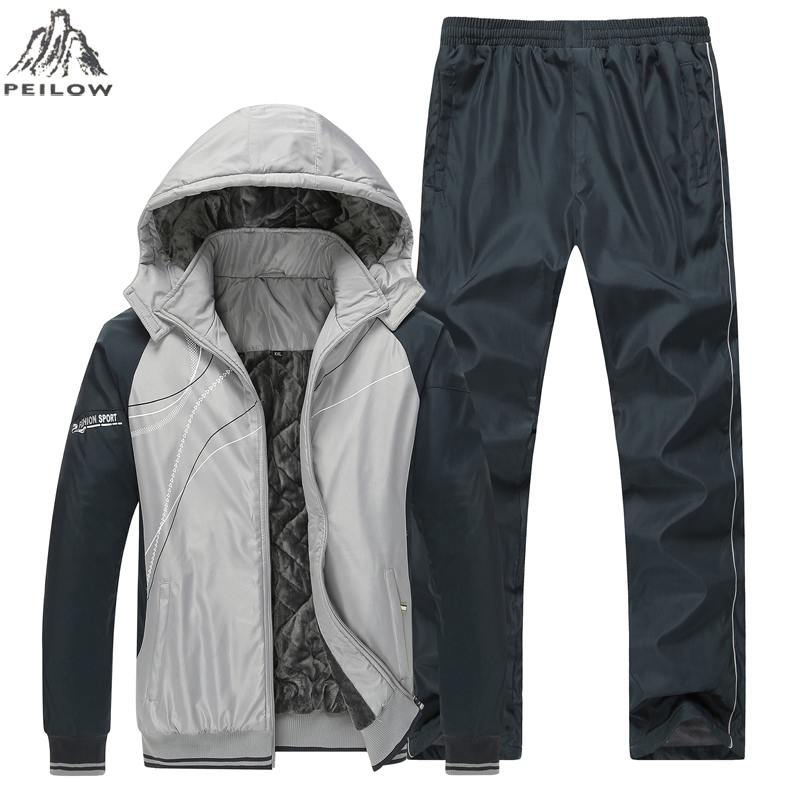 PEILOW Winter Jacket Tracksuits Men Set Thicken Hoodies+Pants Suit Outwear Sweatshirt Sportswear Set Male Hoodie Sporting Suits