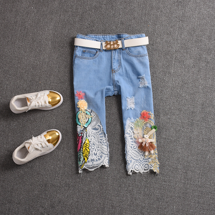 2017 summer embroidery knee length jeans