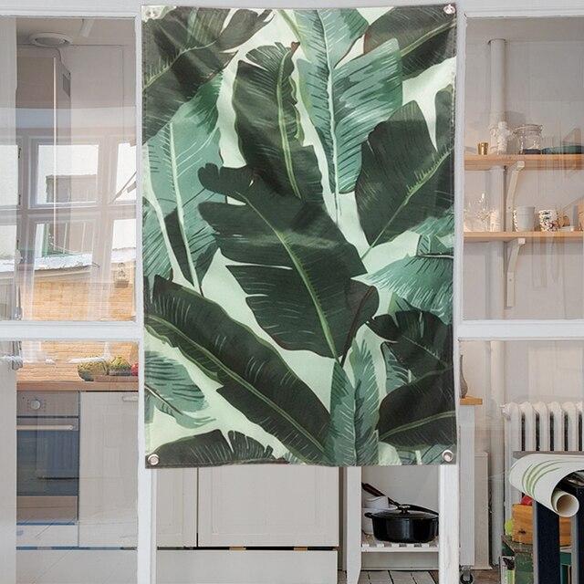 Yazi Plantes Style Vert Feuille Tapisserie Porte Rideau Suspendu