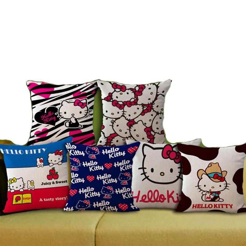 Офис Диван Декор Пледы Подушки Детские 45*45 см Рисунок «Hello Kitty» бытовой Подушки Детские случае Подушки Лен Ткань не включая заполнение b0