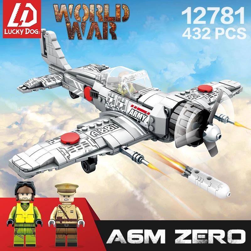 432 Pcs Compatible Legoingly Ww2 Military Vehicle A6M Zero Fighter Building Block Brick Toys