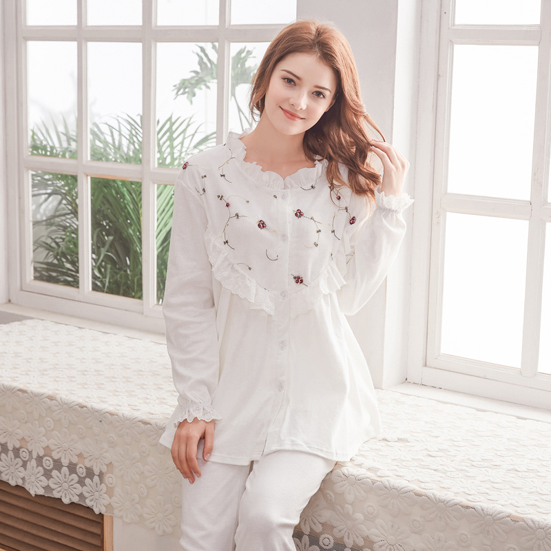 Breastfeeding Pyjama Maternity Nursing Clothes Maternite Pregnant Sleepwear Cotton Maternity Nightgown Women Nursing US style breastfeeding nursing cover lactating towel breastfeeding cloth used jacket scarf generous soft good quality maternity clothes