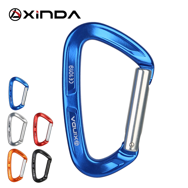 XINDA Professional Top Quality 25KN Rock Climbing Straight Quickdraw Spring-loaded Gate Aluminum Carabiner Outdoor Kits