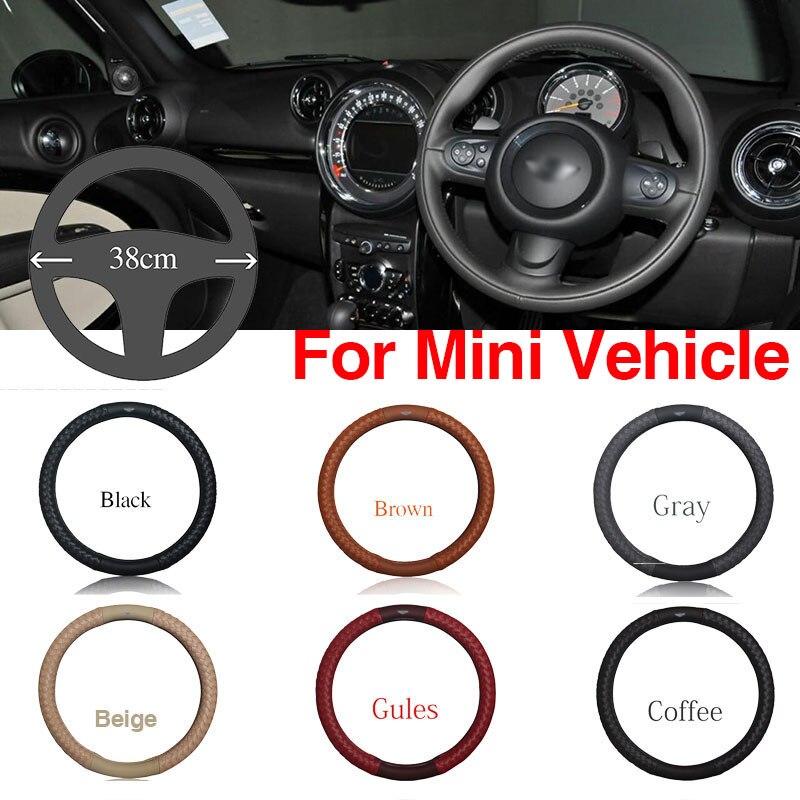 Ipoboo Top PU Leather Diamond weave Plaid Anti-Slip Steering Wheel 6 Colour Choice Cover For Mini Series Vehicle