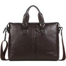 Brand men briefcase genuine leather men's real leather business bag 14″ laptop business briefcase real skin shoulder bag