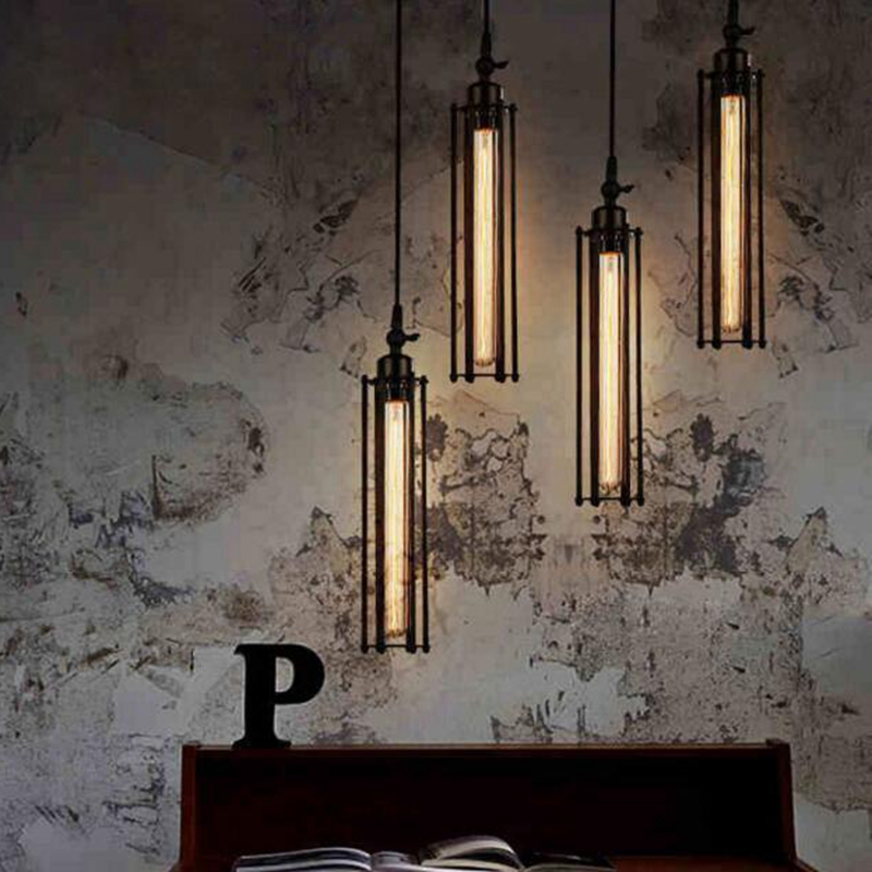 LukLoy Pendant Lights Lamp Shade Vintage Industrial Retro Iron Flute Pendant Lamp Light Dining Room Kitchen Island Decoration