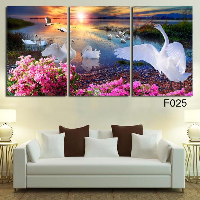 Lieblich Große Wandbilder Für Wohnzimmer Dekoration Kunst 3 Stücke Moderne  Dekorative Bild White Swan Ölgemälde Auf Leinwand