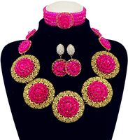 Fashion New Dubai Gold Color Disc Jewelry Set Bridal Jewelry Sets Statement Necklace African Beads Jewelry