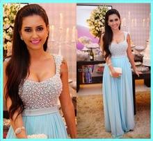 Nach Maß A-line Kristall Perlen Mieder Blue Sexy Lange Elegante Abendkleider Zur Partei Abendkleid Vestidos longos formatura