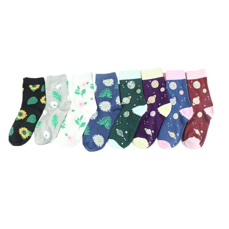 Christmas Sock Gift 85% Cotton Women's Crew Sock Funny Harajuku Cute Novelty Cartoon Planet Dinosaur Happy Dog Socks