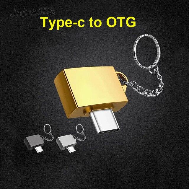 Logam Tipe C OTG Tipe-C untuk USB 2.0 OTG Konektor Adapter Male To Female Adaptor dengan Gantungan Kunci untuk Ponsel Gamepad Keyboard Mouse