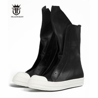 Real Picture Cowhide Real Leather High Top Rock Street Zip Men Boots Catwalk Causal Owen Boots