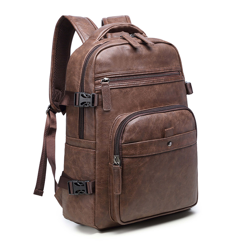Vintage Men Backpack Waterproof Solid School Bag For Male PU Leather 15 6 inches Laptop Bags