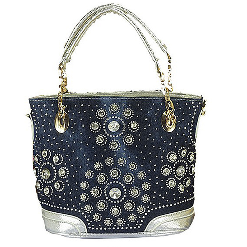 ФОТО 2016 Top brand name leisure women shoulder bag designer crystal diamond demin bags handbags
