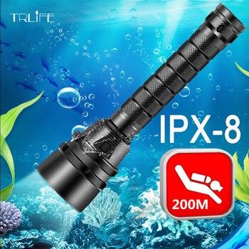 30000 لومينز المهنية قوية الصمام للماء الغوص مصباح يدوي غواص ضوء led تحت الماء الشعلة مصباح الفانوس