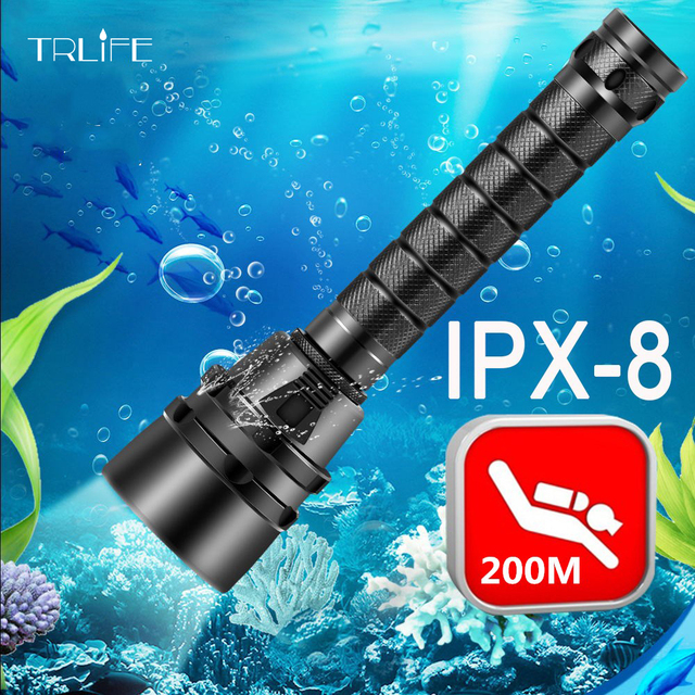 30000lumens Professional Powerful led Waterproof Scuba Diving Flashlight  Diver Light LED Underwater Torch Lamp Lanterna