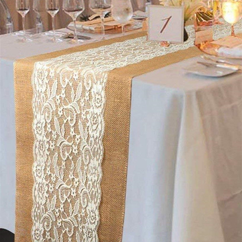 Decor de Crăciun Hessian Panglică Burlap Lace Table Runner Stofă Nunta Masă Decorare Rectangular 108 x 28cm AA7913
