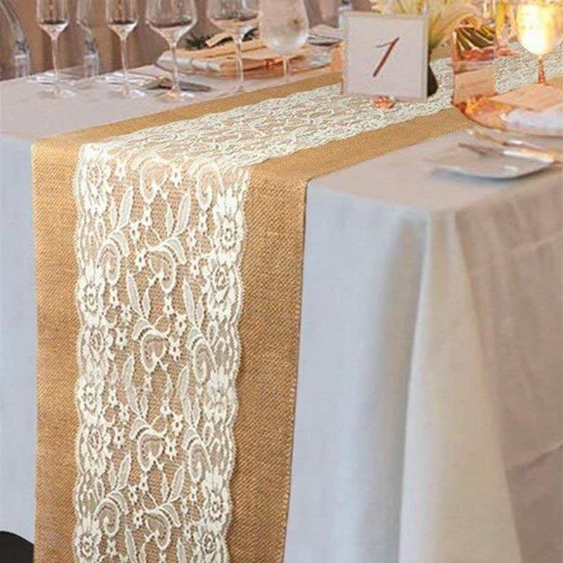Christmas Decor Hessian Ribbon Burlap Lace Table Runner Cloth Wedding Table Decoration Rectangular 108 X 28cm AA7913