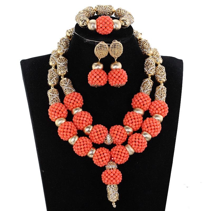 Splendid Nigerian Wedding Coral Statement Jewelry Set Handmade Coral Beaded African Necklace Bracelet Earrings Set Gold CNR079