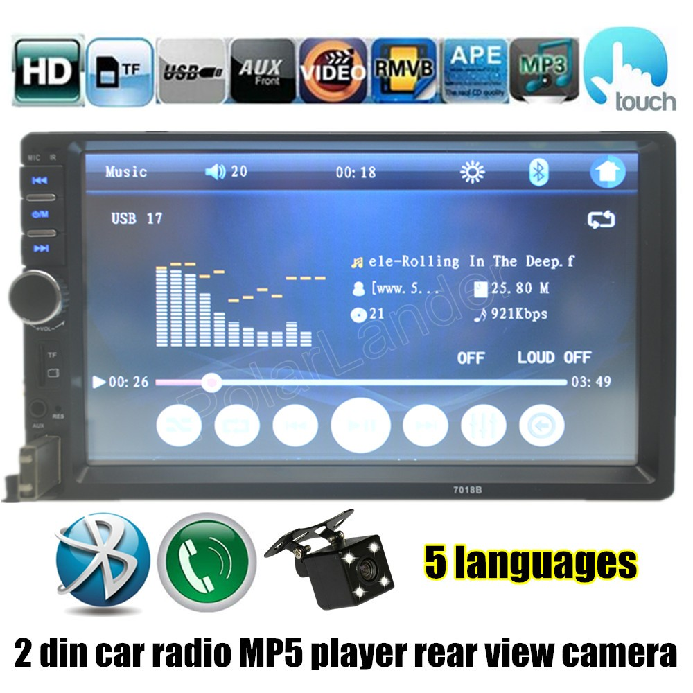 7 Inch Auto radio Double DIN Car Touch Screen with rear view camera Bluetooth FM MP4 MP5 player free shipping