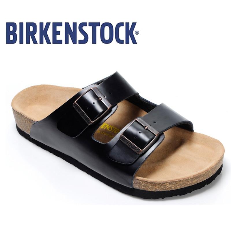 2018 Original Birkenstock Slippers Men Summer Arizona Soft Sandals Men Leather Unisex Shoes Beach Slippers 802 Cork Sandals birkenstock summer arizona soft footbed leather sandal women shoes unisex shoes modis 802 slippers women slippers outdoor